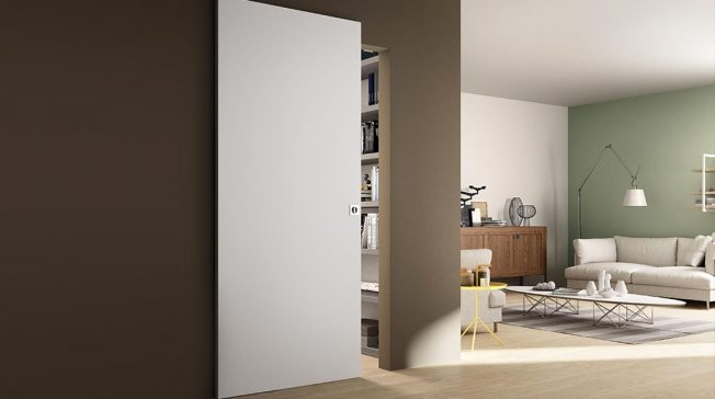 FerreroLegno: porta a scorrimento da interno con sistema invisibile Rolling Magic